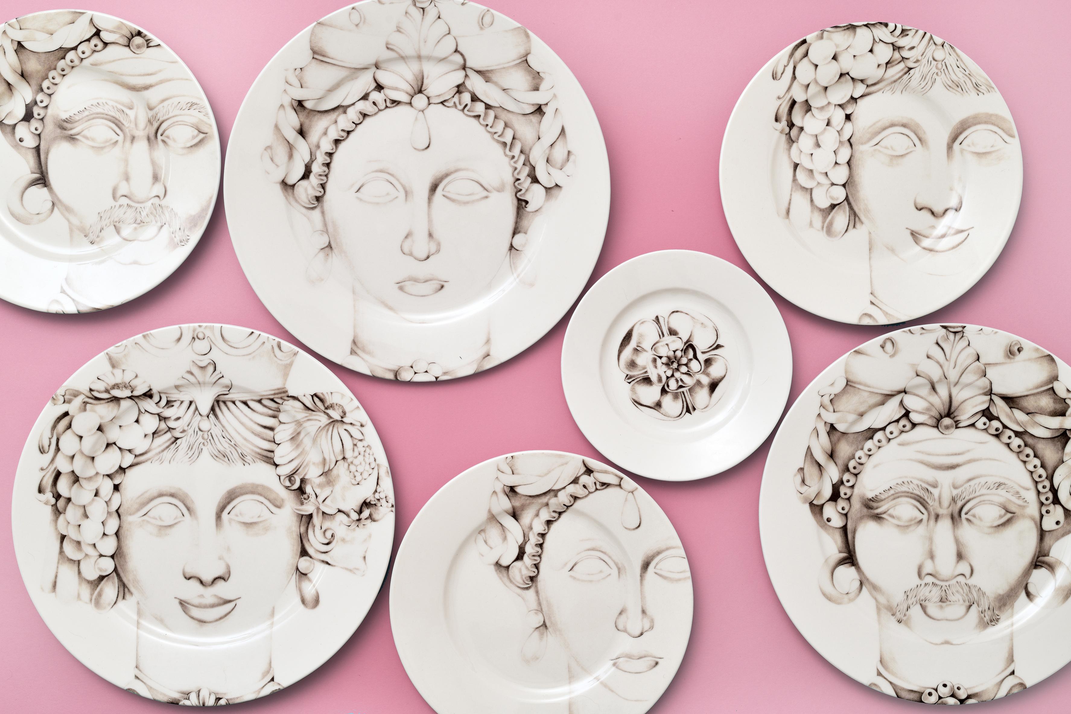 Francesca Colombo - teste di moro - porcelain hand painted - print - made in italy - sicily - tradicional grey - Alejandro Catalina - Rosalina - plates - new classic style - wallpapers