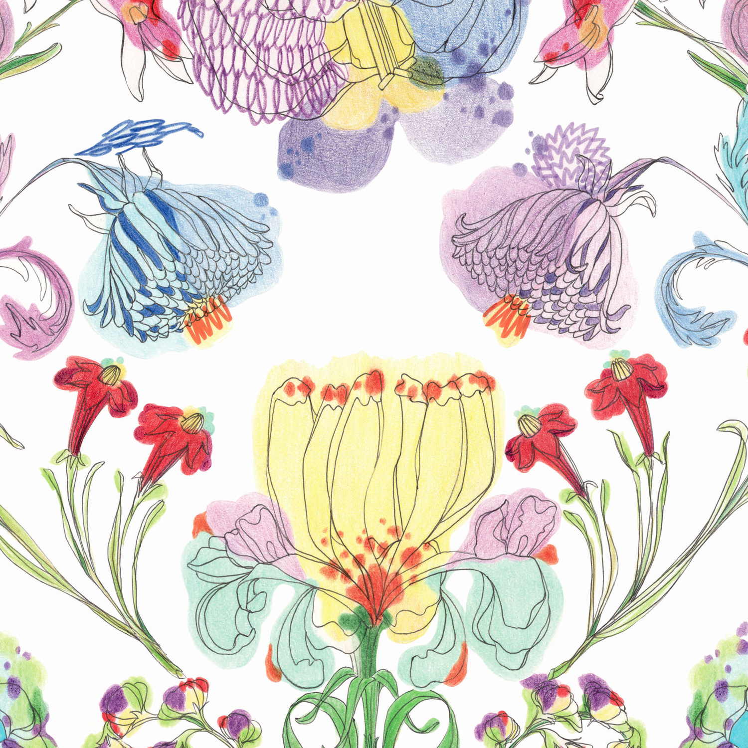 Francesca Colombo - Flowers Hand Painted - Milan - WALLPAPERS - Made in Italy - Pastels Colours
